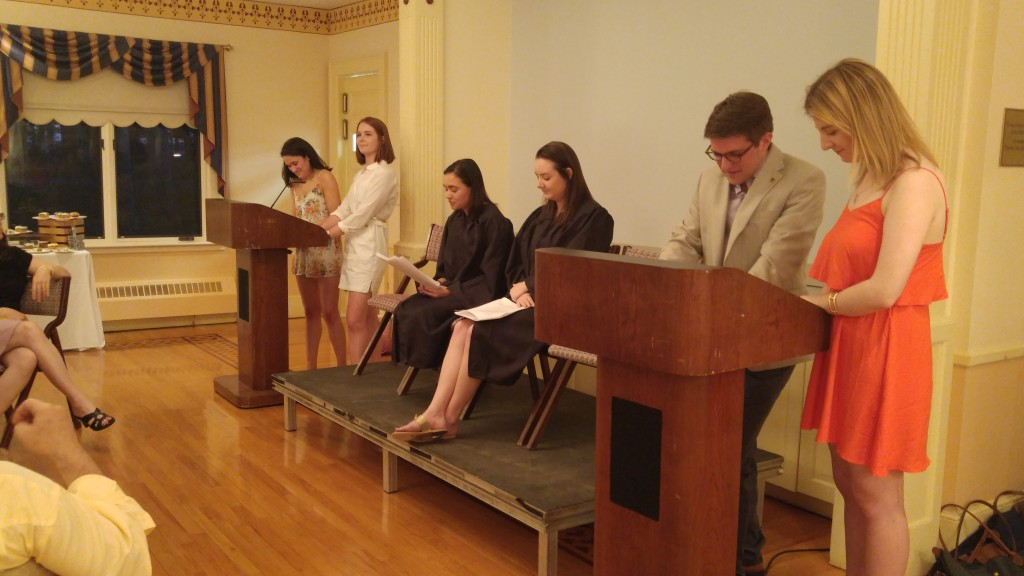 The six seniors in charge of the fundraising campaign performing Public Policy & Law Class of 2016 v. Professor Cabot