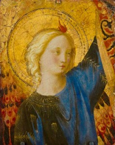 "Guido di Pietro, called Fra Angelico, Italian, Florentine, active 1418-1455, Head of an Angel (detail), c. 1445-50, Tempera and oil on panel; 6 3/4 x 5 1/2"", Wadsworth Atheneum Museum of Art, The Ella Gallup Sumner and Mary Catlin Sumner Collection Fund, 1928.321"