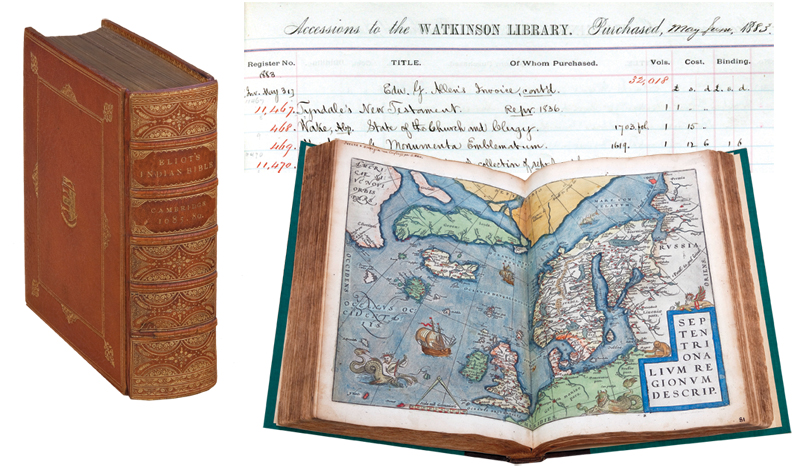 Left to right: Indian Bible from 1865; accession records from 1883; Dutch atlas from 1579