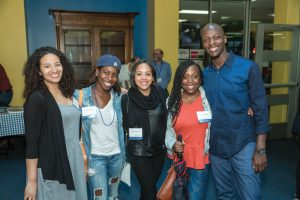 Samantha Alcala '11, Yasmin Sinclair '11, Yodalis Moran '11, Channon Miller '11, and Gerald Antoine '11 reconnect at Reunion.