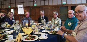 Maggie Moore, Joe Moore '66, Walt Siegel '66, Luvia Sniffen, Tim Sniffen '66, and Sandy Mason '66 enjoy the Half-Century Luncheon.