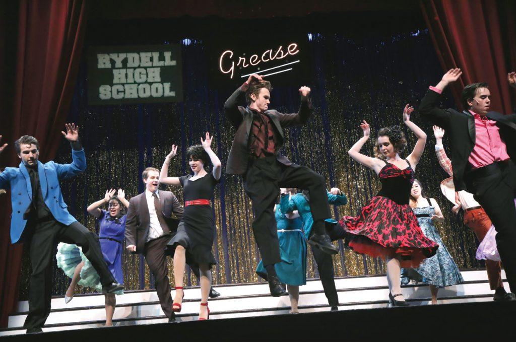 Trinity thespians take the stage during dress rehearsal for the February 2016 production of Grease Photo: John Atashian