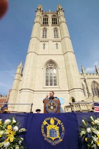 President James F. Jones, Jr., Trinity College's 21st president, offers remarks during his inauguration on October 17, 2004