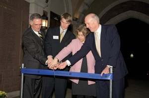 Raether lends a hand in cutting the ribbon to the newly restored Long Walk in October 2008, while President Jones, Jared Paletti '09, and Kathleen Kete, now Borden W. Painter, Jr. '58, H'95 Professor of European History, also take part.