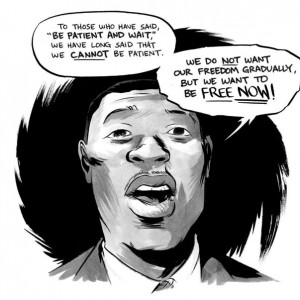 Artwork from March: Book Two of John Lewis speaking at the 1963 March on Washington.