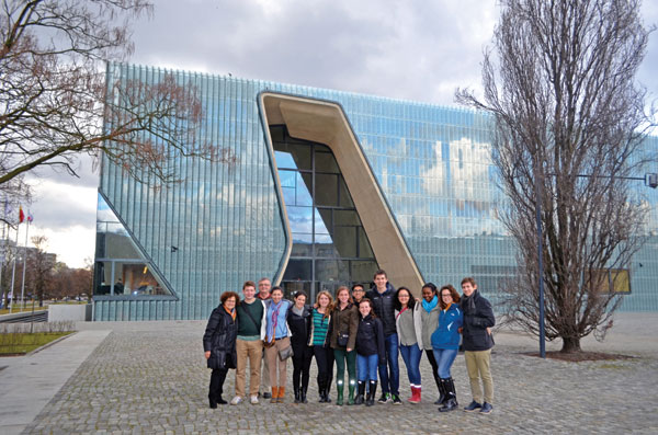 Sam Kassow '66, third from left, and Lisa Kassow, left, gather with Trinity students at the POLIN Museum as part of a Hillel trip to Poland in 2014.