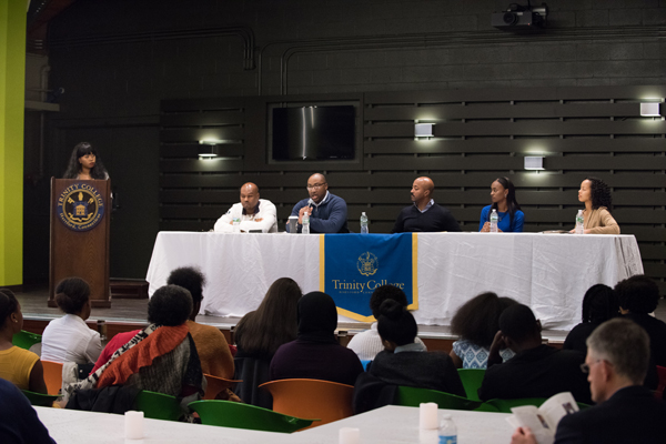 "Khameelah Bailey '18 moderates the ""Bantam See, Bantam Do"" career networking panel, which featured Chris Brown '09, Trinity Funston Trustee Paul Mounds, Jr. '07, Joe Gross '94, P'12, Shanice Hinckson '15, and Briana Chang '16.   PHOTO: DEFINING STUDIOS"