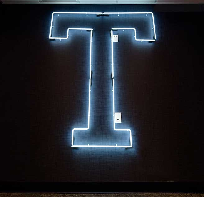 lit up T at the innovation center