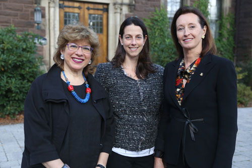 L-R: Susannah Heschel '73, Christine Elia '96, and Jean Walshe '83