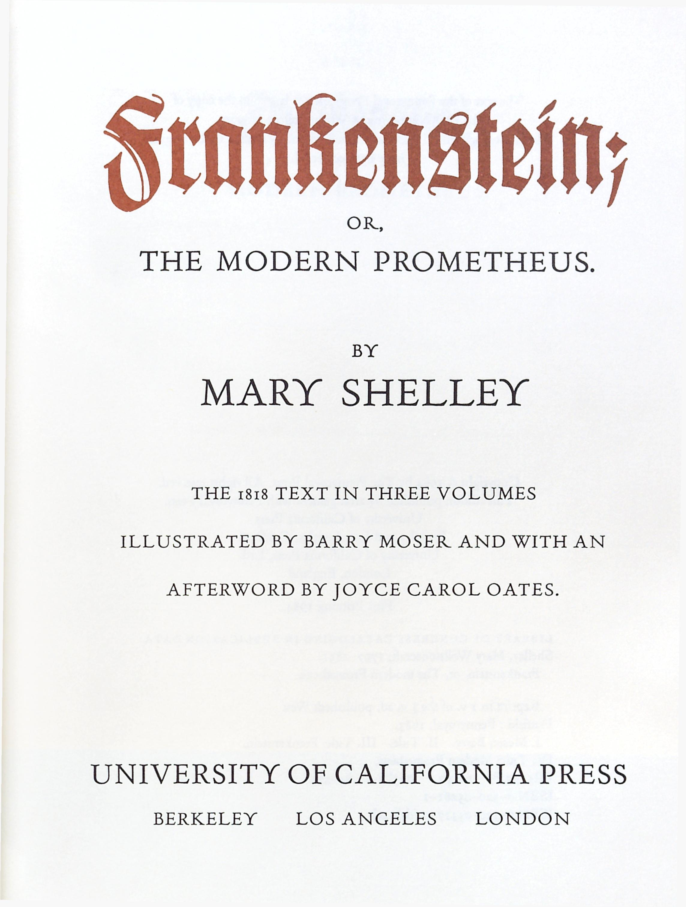 frankenstein by mary shelley essay notes