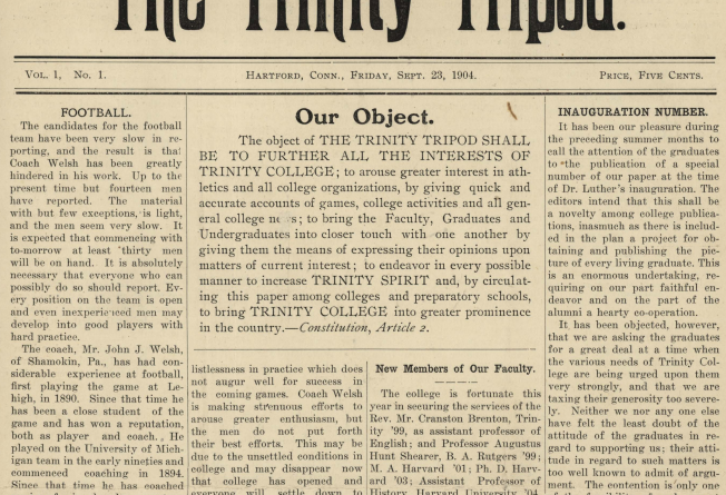 Front page of the first edition of the Trinity Tripod.