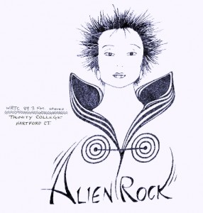 Otherworldly radio: An Alien Rock t-shirt design from the 1980s.