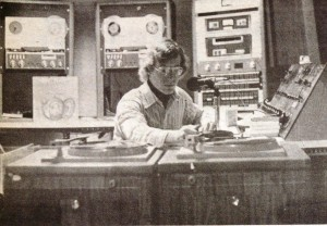 On-air in Cook: A host cues up an album during a 1978 broadcast from the basement of Cook Hall.