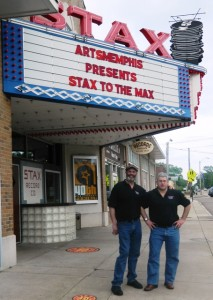 On the road: Tom Shaker (left) and Chris Cowles in front of the Stax Museum of American Soul Music in Memphis, Tenn., where they co-hosted a remote broadcast for WRTC in 2013.