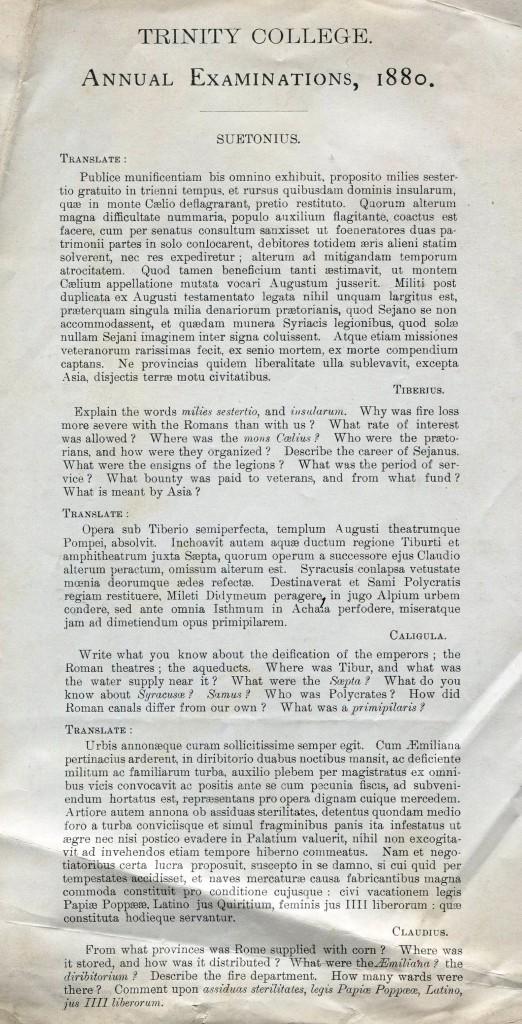 Trinity College Annual Exam 1880 -- Found in Carpenter File