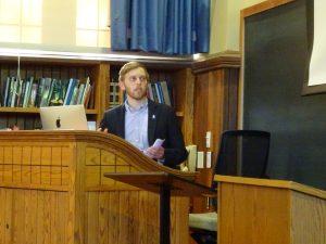 "Matt Reichelt presents his senior thesis project, ""Cultural Reciprocity in Hellenistic Borsippa."""