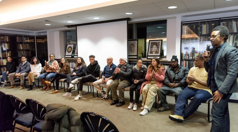 Some of Hartford's Hip Hop pioneers are joined by Trinity students from Seth Markle's Global Hip Hop Cultures class at a Spring 2018 event premiering the digital stories students created about these artists
