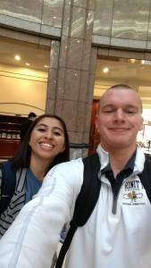 Myself outside the hearing room with C4D activist and student Alison.