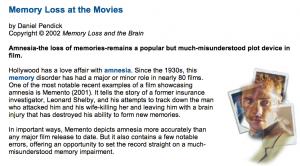 """""""Memory Loss at the Movies"""" – Rutgers University"""
