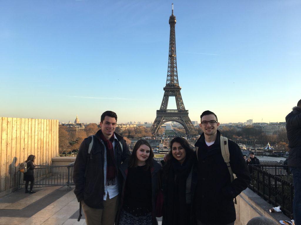 Tyler Wren (far left) and some fellow Trinity students in Paris who were in the same J-Term class