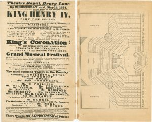 Playbill for 1834 performance of King Henry IV at Theatre Royal, Drury Lane, with plan of orchestra
