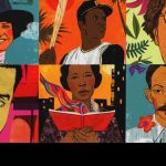 Book illustration collage of famous Hispanic artists and sports figures