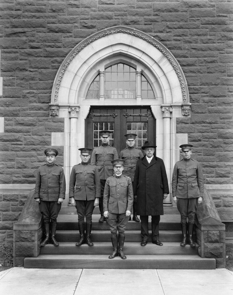 students an President Luther in uniform