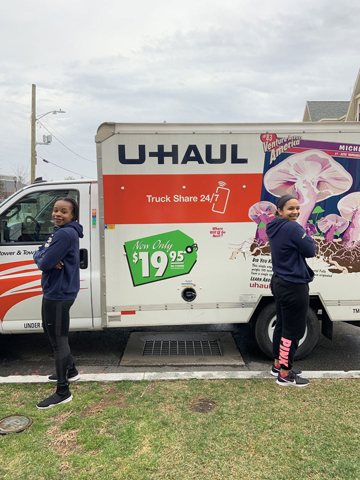 students with u-haul truck