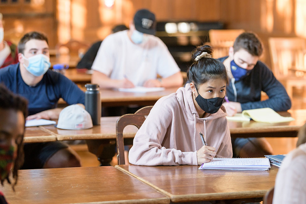 students in class wearing face masks